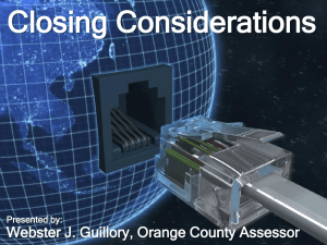 Closing Considerations (Webster Guillory, Orange County)