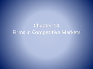 Chapter 14 Firms in Competitive Markets