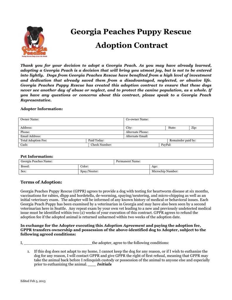 Georgia Peaches Puppy Rescue Adoption Contract