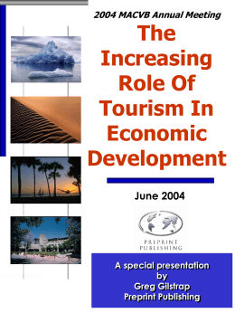 The Increasing Role of Tourism in Economic Development