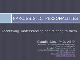 Dr. Claudia Diez – Narcisstic Personalities – Identifying