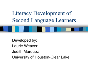 Literacy Development of Second Language Learners