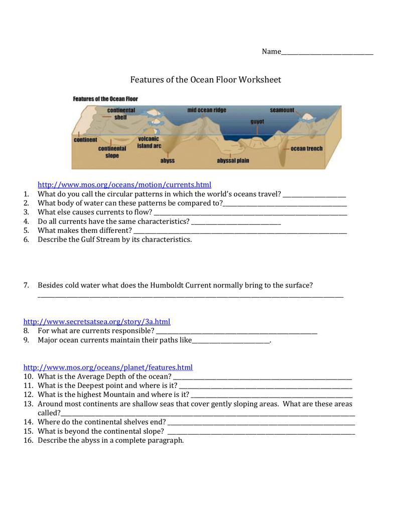 Free Worksheet Features Of The Ocean Floor Worksheet file