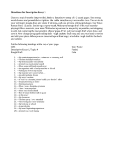 Directions for Descriptive Essay 1 Choose a topic from the list