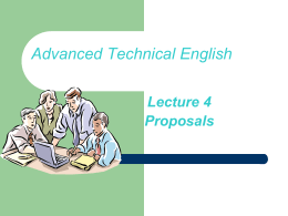 Lecture 5 – Proposal