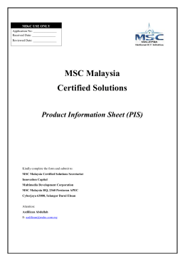 MSC Malaysia Certified Solutions Product Information Sheet (PIS)