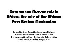 the role of the African Peer Review Mechanism