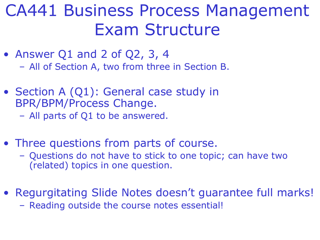 CA441 Business Process Management Exam Structure