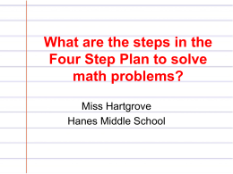 The Four Step Plan to Solving Math Problems