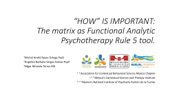 *How* is important: The matrix as Functional Analytic Psychotherapy