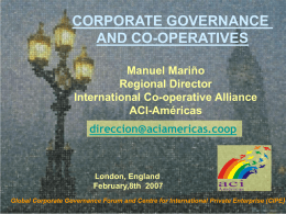 Corporate Governance and Co-operatives, presentation by