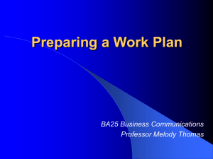 Preparing a Work Plan