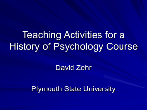 Activities for History of Psychology