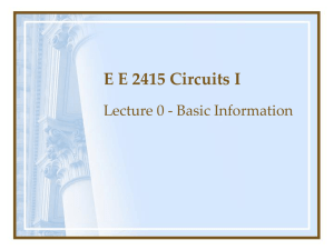 E E 2315 Circuits I Introduction - The University of Texas at Arlington