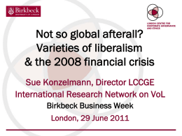 BIRKBECK BUSINESS WEEK 2011 - London Centre for Corporate