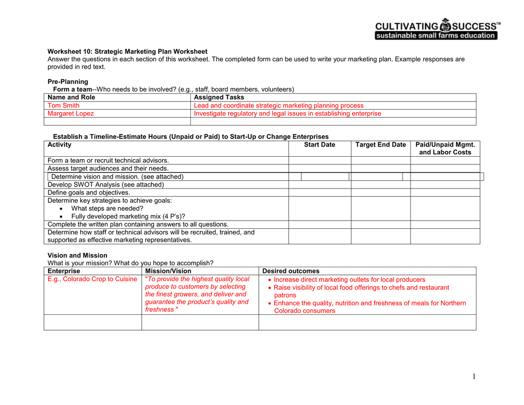 Strategic Marketing Plan Worksheet – Change Plan Worksheet