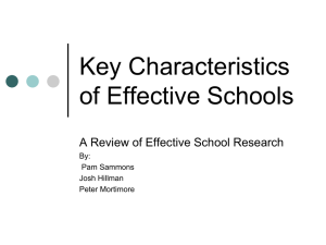 Key Characteristics of Effective Schools