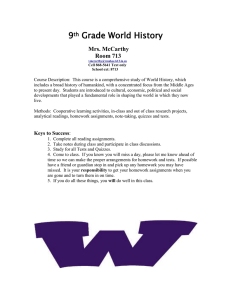 9th Grade World History - PVS