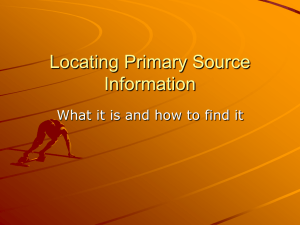 Locating Primary Source Information