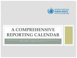 a comprehensive reporting calendar