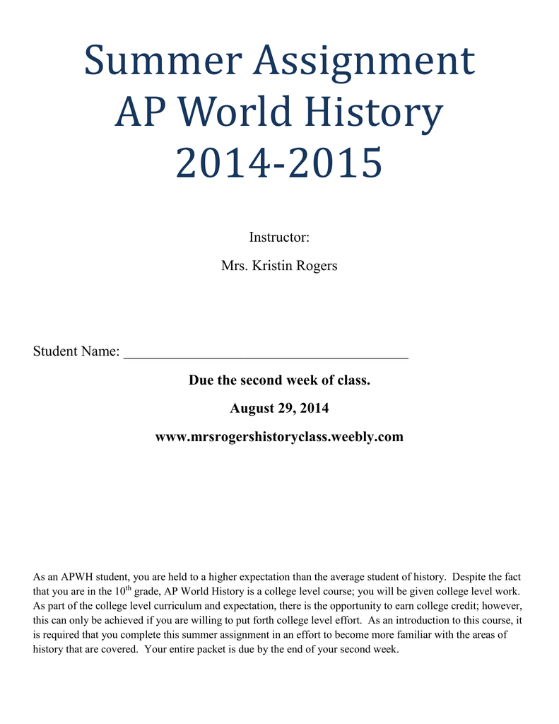 Map #1: AP World History World Regions – a Big Picture View