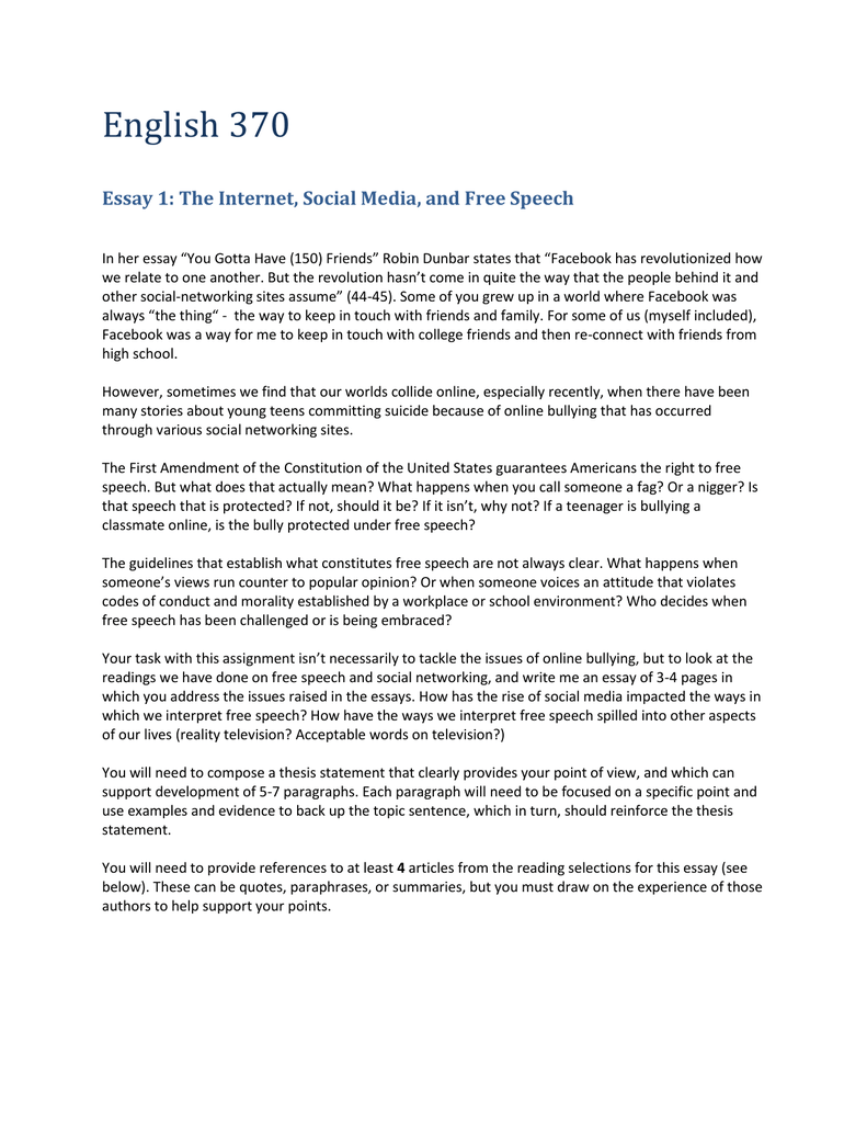 essay the internet social media and speech
