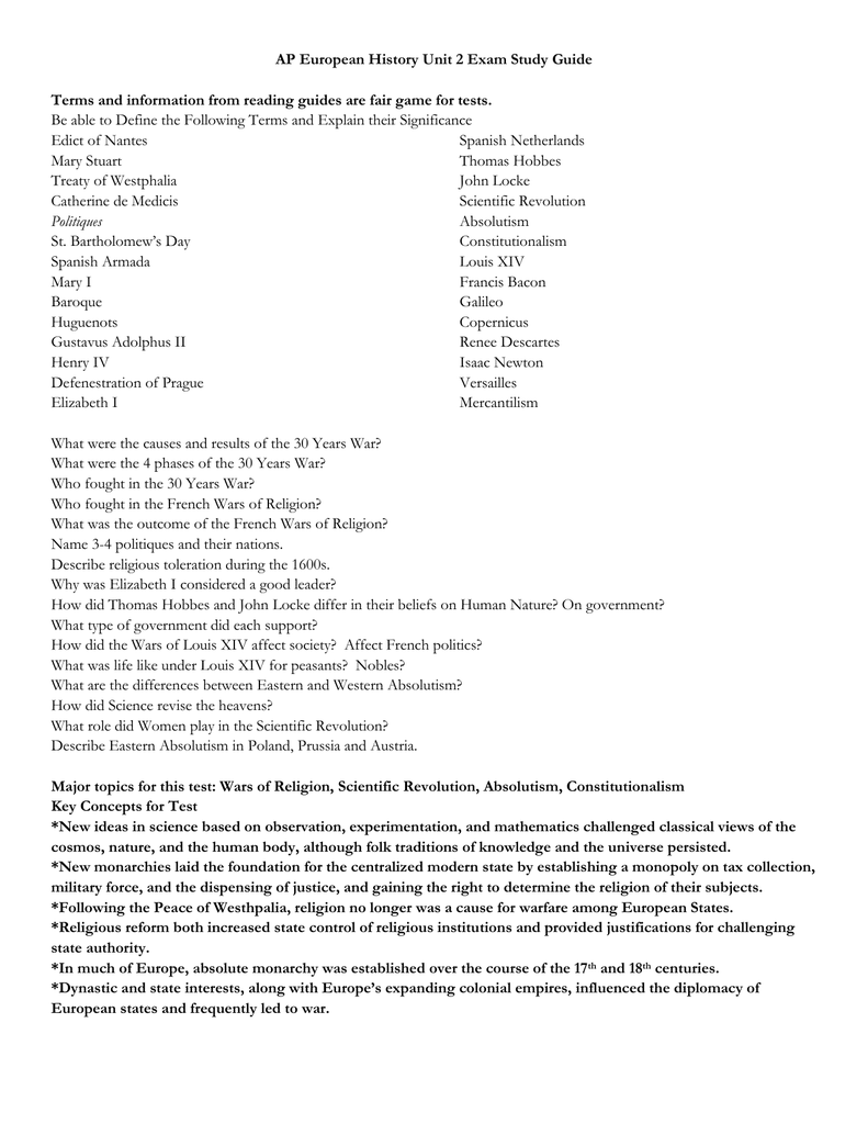 Unit 2 Test Study Guide