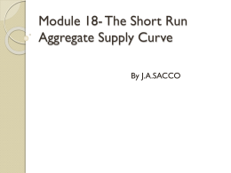 Ch. 10- The Short Run Aggregate Supply Curve