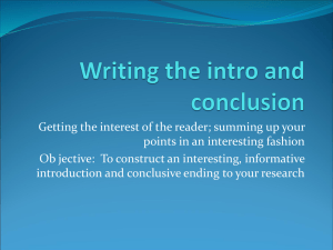 Writing the intro and conclusion