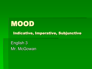 MOOD Subjunctive, Imperative, Indicative
