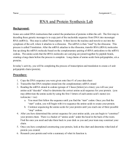 RNA And Protein Synthesis Lab Background