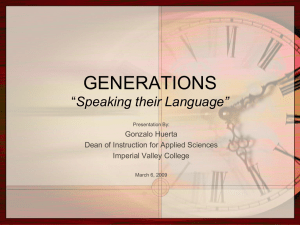 "GENERATIONS ""Speaking their Language"""