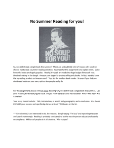No Summer Reading for you!