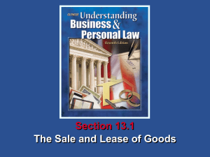 Understanding Business and Personal Law The Sale and Lease of