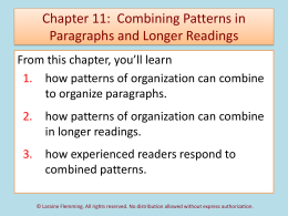 Chapter 10: Combining Patterns in Paragraphs and Longer Readings