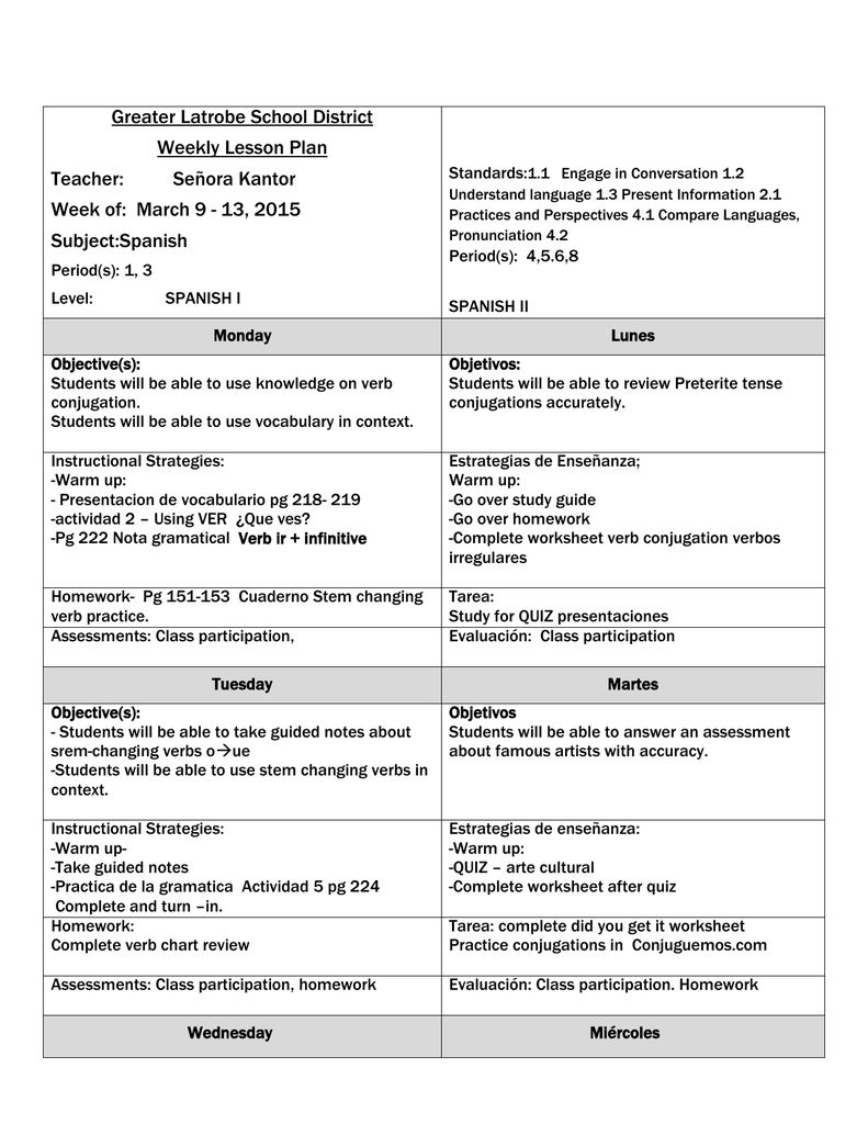 worksheet Spanish Stem Changing Verbs Worksheet greater latrobe school district weekly lesson plan