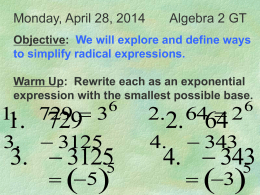 Roots of Real Numbers and Radical Expressions