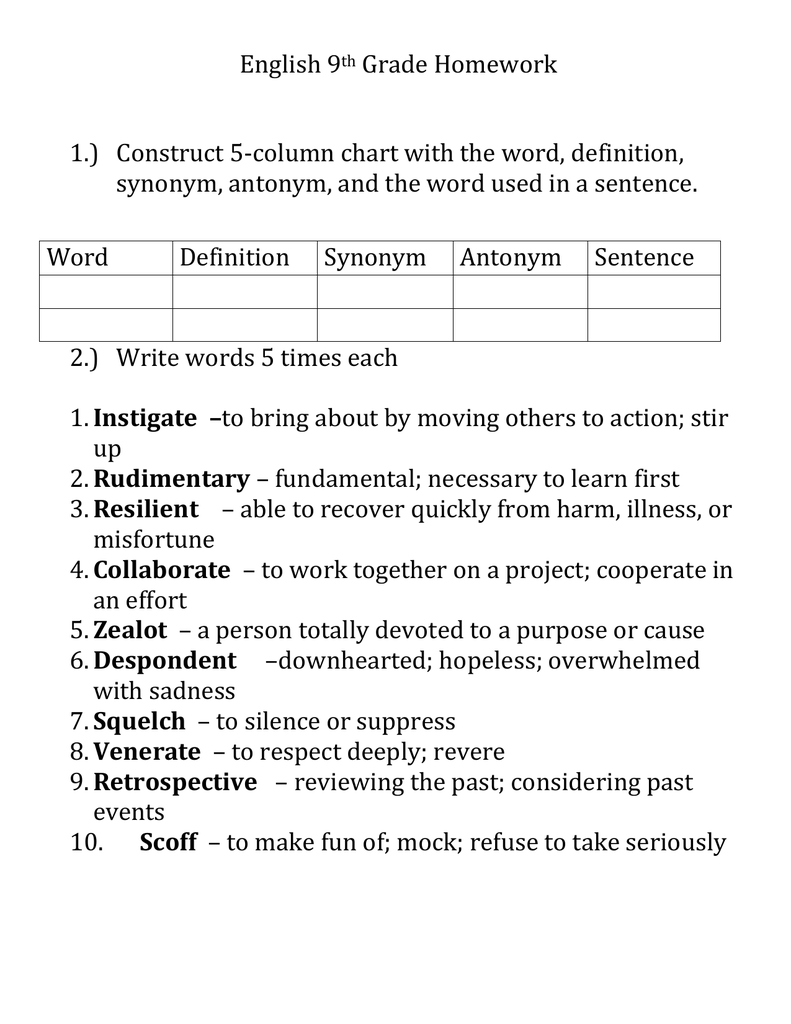 Homework help thesaurus