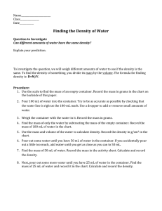 Water Density - Odyssey Charter School