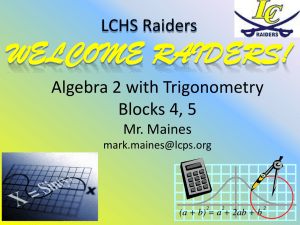 Advanced Algebra/Precalculus Blocks 1, 5, 7