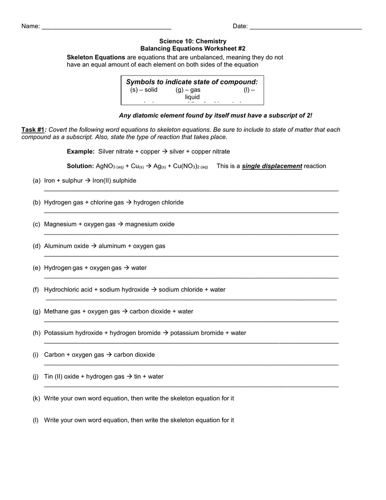 Worksheets Writing Skeleton Equations Worksheet With Answers balancing equations word to