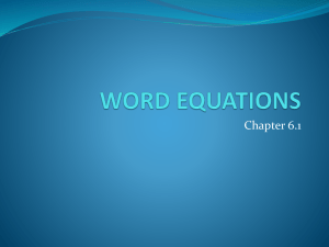 word equations - MrBuntainSpace