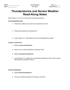 Thunderstorms and Severe Weather Read-Along Notes