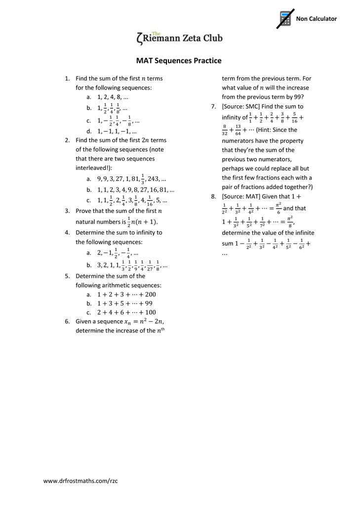 MAT Worksheet - Series