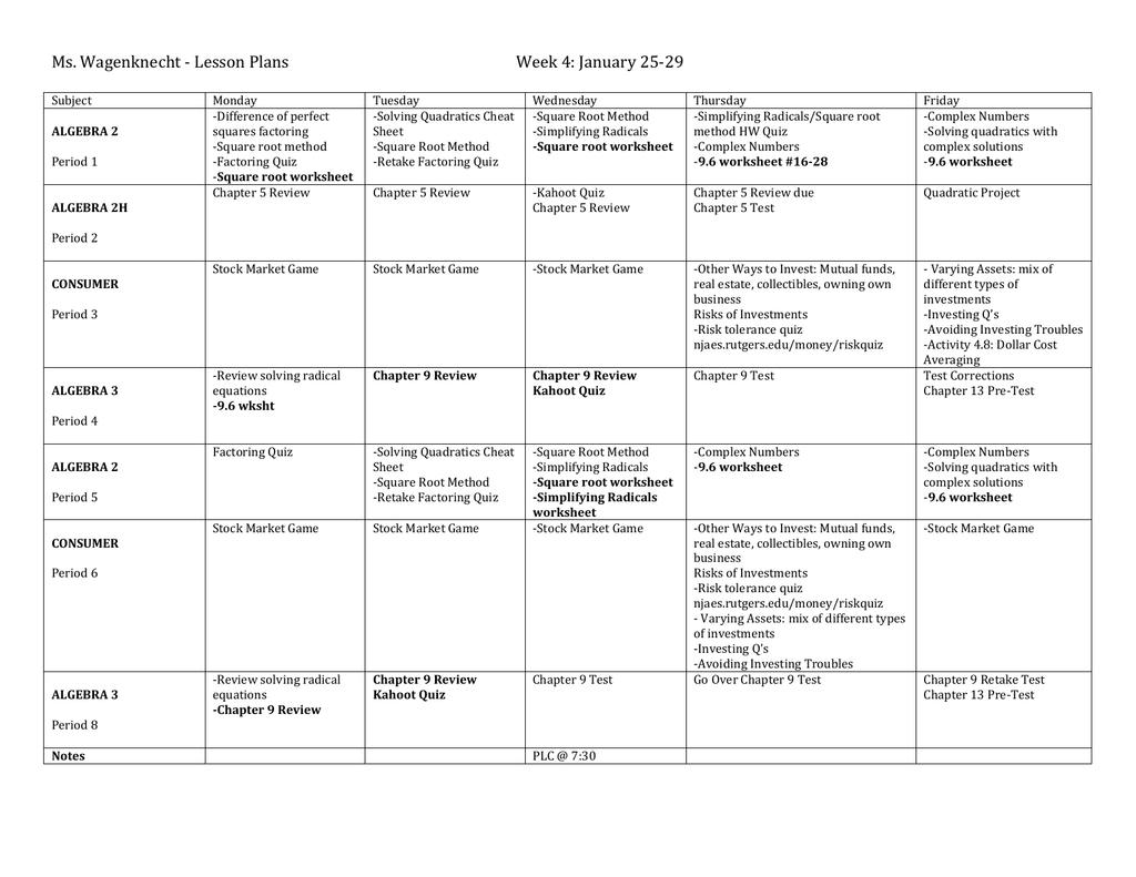 Ms Wagenknecht Lesson Plans Week 4 January 25
