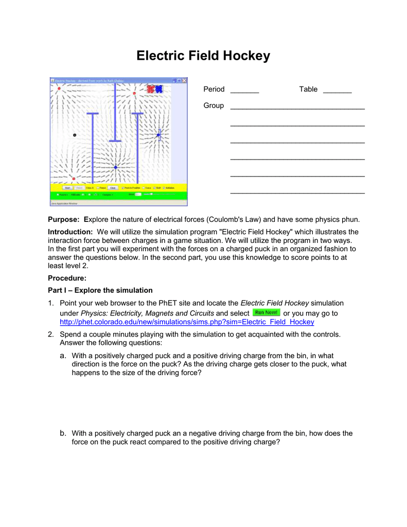Worksheets Electric Field Worksheet electric field hockey lab