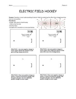 Printables Electric Field Worksheet electric field hockey phet hockey