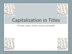 Capitalization in Titles