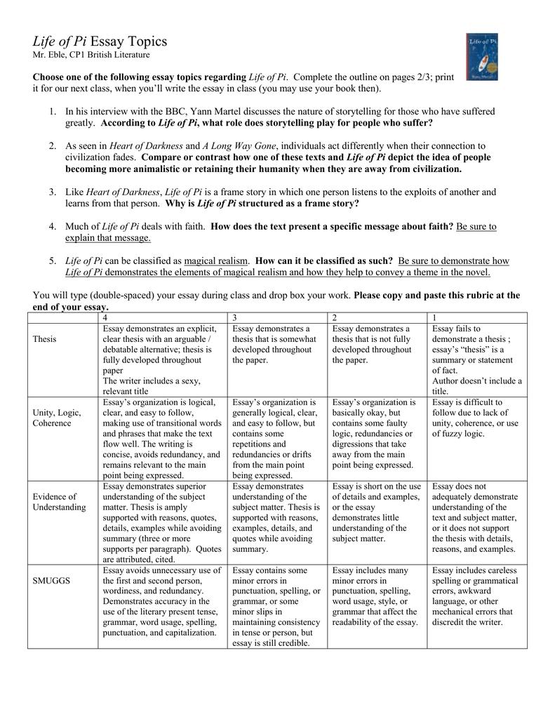 The life of pi essay outline