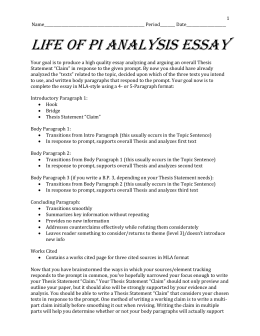 life of pi review essay This life of pi essay sample was completed especially for our readers by an experienced writer from essayshark if you need to complete an essay on life of pi , you can use our sample for ideas however, we should warn you that our summary isn't full because the book itself is quite extended.